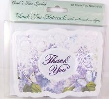 Carol Wilson 10 Thank you  Card Lace Borders Stationery Purple Flora Flower New