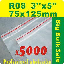 "5000 x R08 75X125mm(3""X5"") Resealable/ Zip Lock ziplock Bags Free Postage"