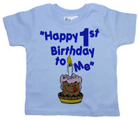 "1st Birthday T-Shirt ""Happy 1st Birthday to Me"" First 1 Year Gift Party Clothes"