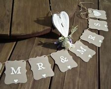 MR & MRS Wedding banner -embossed hearts-bunting flag/garland-decoration - sign
