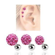 LOT 3 316L Surgical Steel Ear Cartilage Earring Ring Disco Pink Crystal Ball 16G