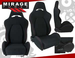 2X Universal Reclinable Racing Bucket Seats Automotive Car Black w/ Red Stitches