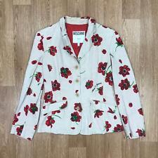 Vintage MOSCHINO Womens FLORAL PRINT Blazer Jacket | Designer Italy | UK14 Brown