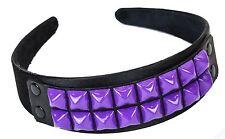 Studded Leather Headband Costume Halloween Headpiece Goth Style Purple