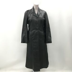 Arm Coat Size UK 16-18 Collar Style Long Button Up Black Genuine Leather 033941