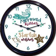 "Mermaid Starfish Beach Ocean Wall Clock Summer Shore Vacation Wishes Kisses 10"""