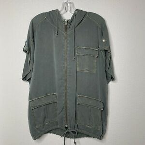 Maurices Womens Large Olive Green Short Sleeve Full Zip Jacket Army Utility NWT
