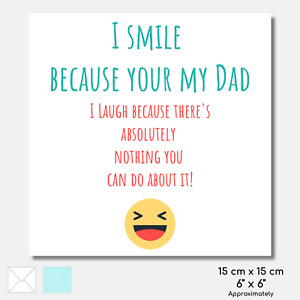 BIRTHDAY CARD Dad Funny Fun Emoji Sticker FREE Envelope Seal 6 x 6 OPTIONS