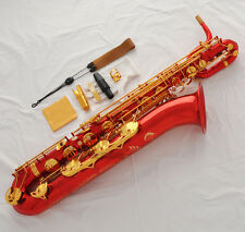 Prof QUALITY Red Baritone Saxophone Dragon Engraving sax Low A to High F# +Case
