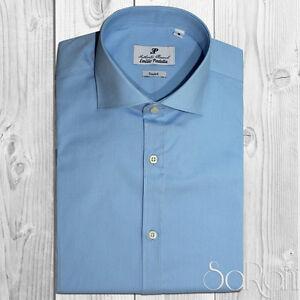 Chemise Homme Casual Basic Coton Couleur Unie Céleste Manches Longues Slim Fit