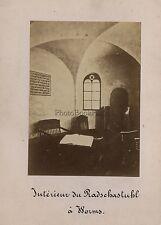 Radschastuhl ? Synagogue Juif Worms Allemagne Vintage albumine ca 1870