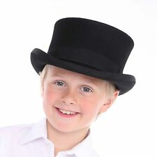 Children's Boys Girls 100% Wool Felt Top Hat with Elasticated Band