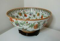 OLD CHINESE HAND PAINTED ENAMEL ON PORCELAIN BOWL - BUTTERFLIES & FLOWERS