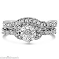 Round Antique Style Ring and Band Wedding Set R138S