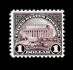 US  1923  Sc# 571  $1.00 Lincoln Memorial Mint NH Vivid  Color -  Centered - GEM