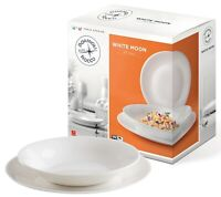 Bormioli White Moon Square Dinner Service Set Opal Glass Dinnerware Plates Bowls