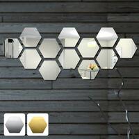 12 pièces 3D miroir carreaux mosaïque Stickers muraux auto-adhésif salle bain LB