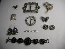 Rhinestone Pins Buckles Glass Bead Bracelet Vintage Art Deco Jewelry Lot 10pcs