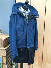 Men's Denim BLUE Hooded Armani Exchange 3/4 Coat JACKET XL 44/46'