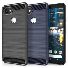 Soft Slim Silicone TPU Gel Carbon Fibre Pattern Case Cover for Google Pixel 2 XL