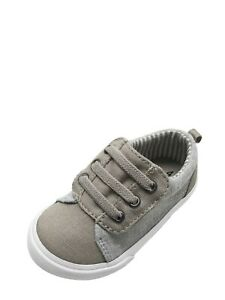 Garanimals Infants Boys Canvas Shoes Size 2 Gray Elastic Laces NEW