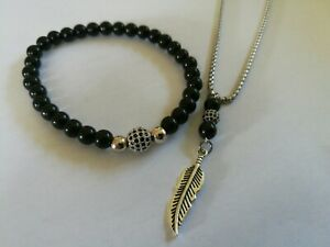Mens Black bead Necklace Bracelet Stainless Steel Silver Bead Set High Quality