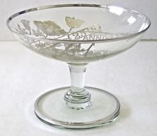 25TH WEDDING ANNIVERSARY VINTAGE  GLASS/BOWL CANDY DISH SILVER OVERLAY