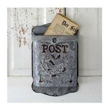 Vintage Galvanized Metal MAIL BOX French Country Farmhouse Style Wall Post Box