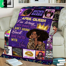 April Queen Fleece Blanket Gift For Black Girl Birthday April