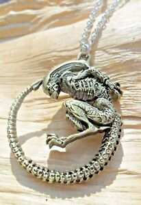 Alien Creature Large Gold Effect Pendant & Links Necklace 51cms NEW