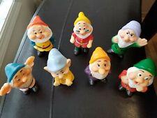 Used Disney The Seven Dwarfs Squeeze Squeaky Toy Figure Set Rubber/Vinyl Vintage