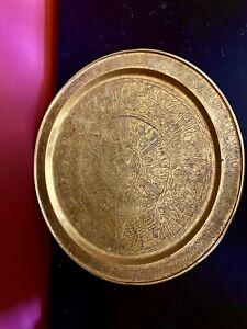 "Vintage 15""  Turkish Ottoman Style  Brass Tray  Engraved"