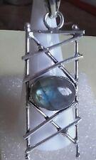 Sterling silver decorative labrodite gem stone pendant / chain
