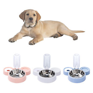 Double Dog Cat Bowls Pets Water and Food Bowl Set Automatic Waterer Bottle
