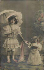 Little Girl in Dress w/ Parasol - Doll Dolly c1910 Tinted Real Photo Postcard
