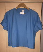 H&M Blue Frill Statement Sleeve T Shirt Size 18 BNWT