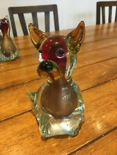 Genuine Murano Glass Red Dog Pig Figure Ornament 6in 15cm high