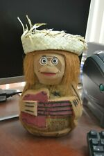 "HAND CARVED COCONUT MONKEY DISPLAY STAND SOUVENIR 10"" #F-888"