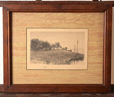 "Edith Penman (1860-1929), ""On the Shoreline"", Etching, Original Matting & Frame"