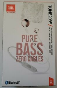 JBL Tune 205 Wireless Bluetooth Earbuds Pure Bass Zero Cables White / Rose Gold