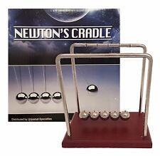 "Classic Newton's Cradle Extra Large 7 1/4"" Dark Brown Wooden Base Balance Balls"