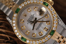 Ladies Rolex Stainless Steel & 18K Gold 26mm Datejust White MOP Diamond Emerald