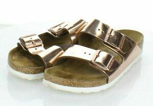 18-65 $135 Women's Sz 38 N Birkenstock Arizona Metallic Leather Footbed Sandals