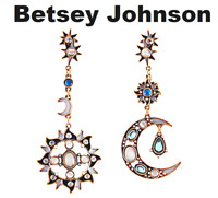 US Seller Betsey Johnson Sun & Moon Crystal Dangle Drop Earrings Multi-color