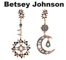 US Seller Betsey Johnson Sun & Moon Crystal Dangle Drop Earrings Multi-color