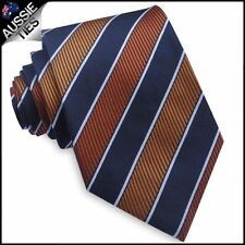 Orange, Dark Blue & White Stripes Mens Tie