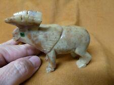(Y-MOO-NB-403) MOOSE carving gem stone gemstone SOAPSTONE PERU alces antlers