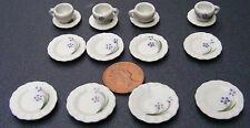 1:12 Scale 16 Piece Hand Painted Blue & R Floral Ceramic Tea Set Dolls House TS4