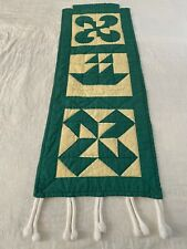 """VINTAGE Handmade  Hand Quilted Sample QUILT Wall Hanger 45"""" x 16"""" Dated 1-80"""