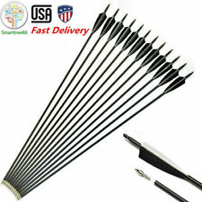 "US 6/12/24/48PCS 32"" Carbon Archery Arrows SP500 For Recurve Bow w/Real Feathers"